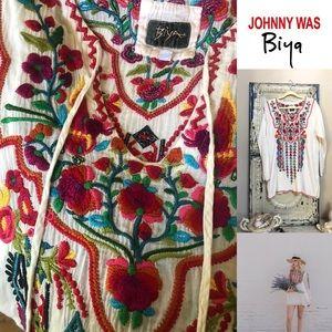 Johnny Was by Biya embroidered boho peasant tunic